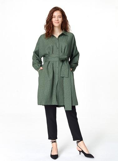 Mizalle Jakar Desenli Kuşaklı Tunik Elbise Haki